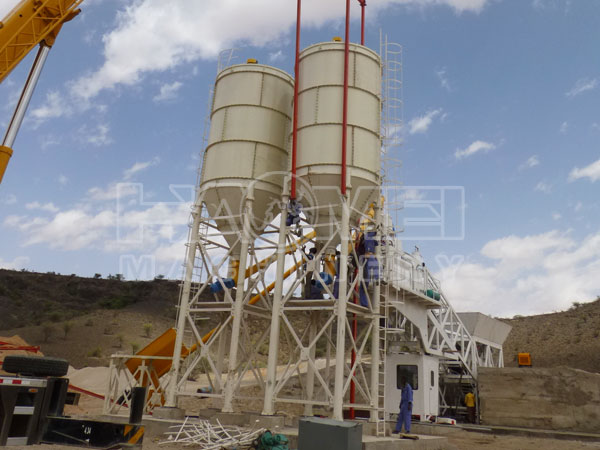 success installation of YHZS75 mobile concrete batching plant in Somalia