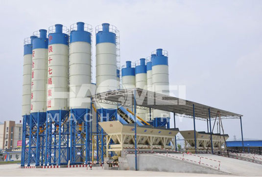 HZS240 stationary cement mixing plant with hot system