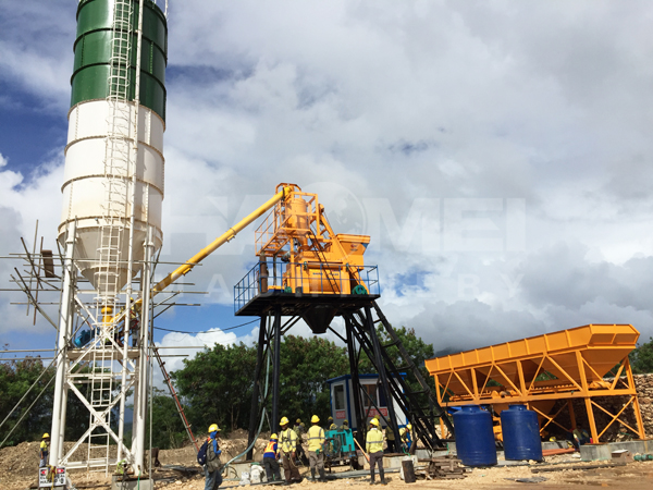 HZS50 Concrete Batching Plant install in Surigao, Philippines